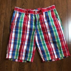 Men's 14th & Union 33w red and blue plaid short